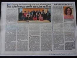 """Un très bel article dans le journal """"l'Indépendant"""" du jeudi 17 septembre 2015 sur la Plateforme ELSAA."""