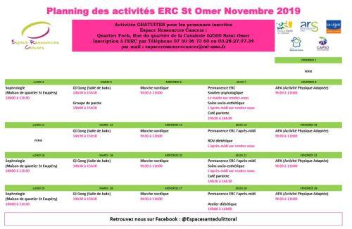 planning activités STO novembre 2019